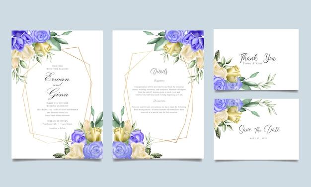 Zestaw kart zaproszenie z akwarela kwiatowy i pozostawia szablon