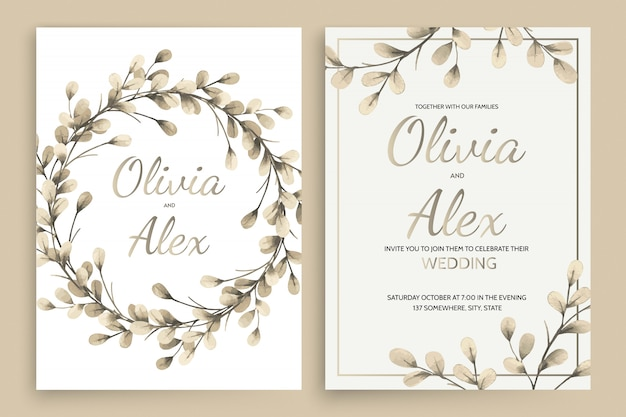 Zestaw kart zaproszenie z elementami liści akwarela i liter kaligraficznych.