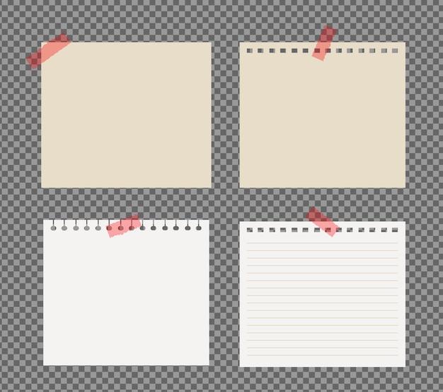 Zestaw kartek a4, a5 z cieniami, realistyczna kartka papieru