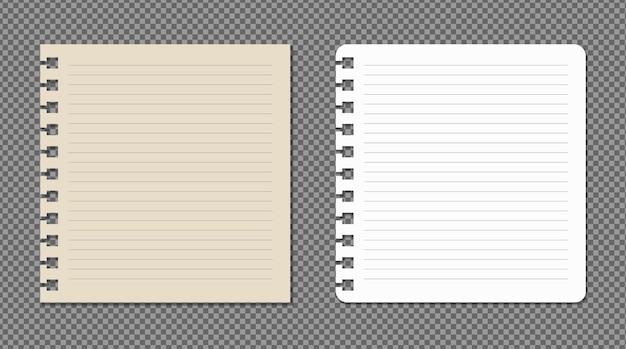 Zestaw kartek a4, a5 z cieniami, realistyczna makieta strony papieru.