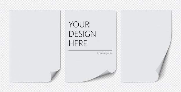 Zestaw kartek a4 z zawiniętym rogiem na przezroczystym tle z cieniami, realistyczna kartka.