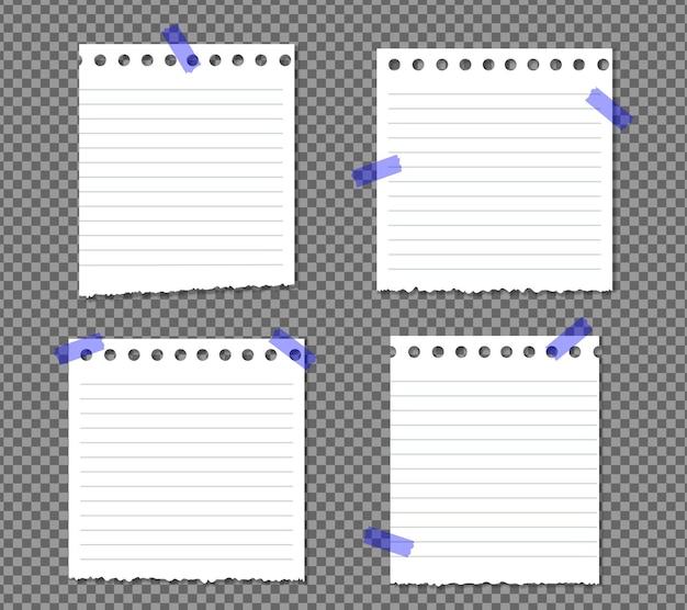 Zestaw kartek a4 z zawiniętym rogiem na przezroczystym z cieniami, realistyczna kartka.
