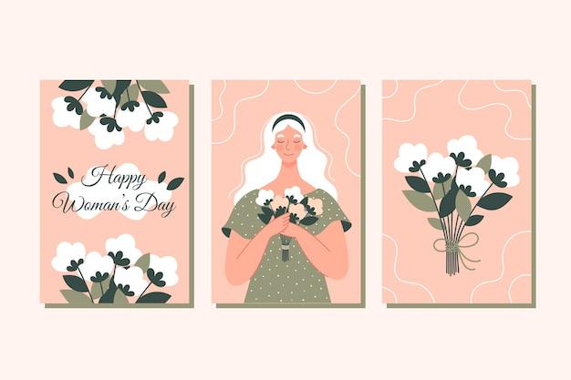 Zestaw kartek gratulacyjnych z okazji dnia kobiet 8 marca. różowa kwadratowa kartka z napisem.