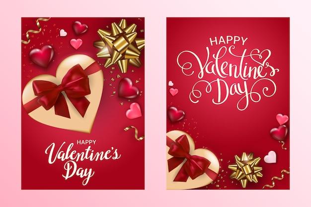 Zestaw kartek happy valentine's day z pudełkiem, serduszkami i kokardkami.