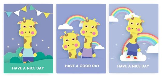Zestaw kartek na baby shower i kartki urodzinowe z uroczą żyrafą.