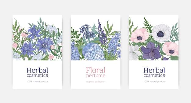 Zestaw kartek na kosmetyki ziołowe i reklamę naturalnych perfum kwiatowych ozdobionych kwitnącymi niebieskimi, różowymi i fioletowymi kwiatami