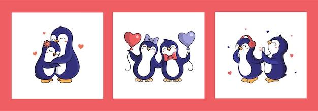 Zestaw kartek na walentynki. kolekcja kreskówkowych pingwinów