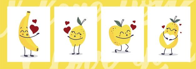 Zestaw kartek na walentynki. owoce kawaii wysyłające buziaki.