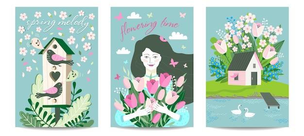 Zestaw kartek o tematyce wiosennej z domkiem, kwitnącym ogrodem, ptasznią i ptakami, dziewczynką.
