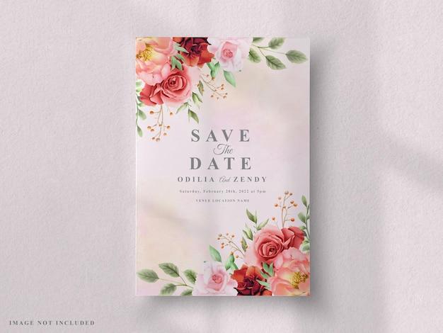 Zestaw Kartek ślubnych Czerwona Róża I Piwonia Premium Wektorów