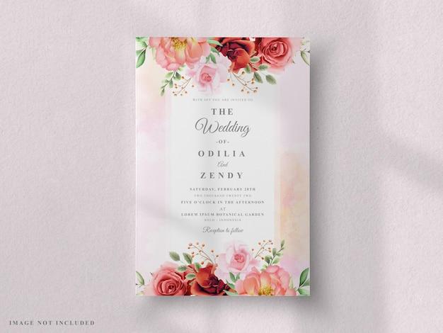 Zestaw kartek ślubnych czerwona róża i piwonia