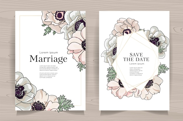 Zestaw kartek ślubnych z ręcznie rysowane anemon