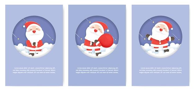 Zestaw kartek świątecznych i kartek z życzeniami noworocznymi z uroczym mikołajem.
