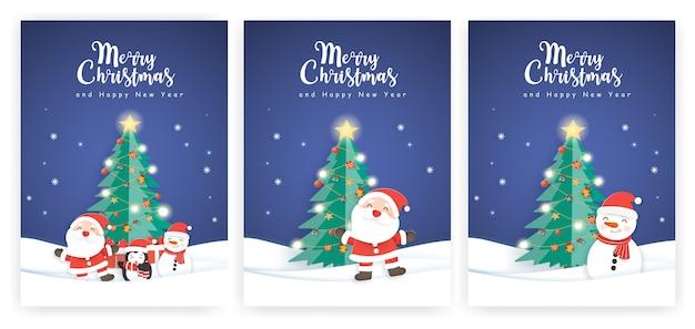 Zestaw kartek świątecznych i kartek z życzeniami noworocznymi ze ślicznym mikołajem i przyjaciółmi.
