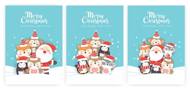 Zestaw kartek świątecznych i noworocznych kart okolicznościowych z uroczymi zwierzętami na śniegu.