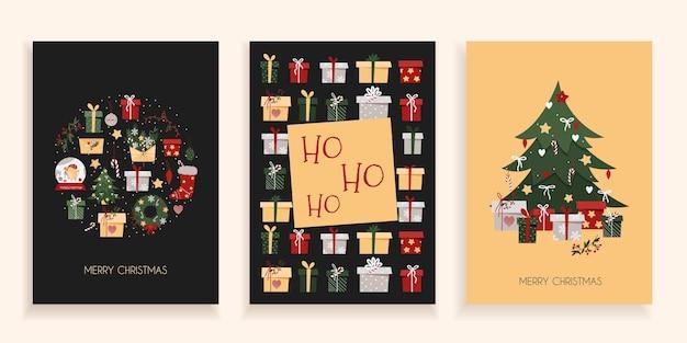 Zestaw kartek świątecznych na ciemnym tle. pocztówki noworoczne w modnym stylu