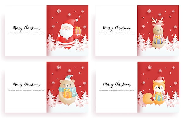 Zestaw kartek świątecznych, uroczystości z reniferem, mikołajem, piwem i lisem, trzymając pudełko, w niebieskiej scenie świątecznej, ilustracja styl cięcia papieru.
