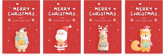 Zestaw kartek świątecznych, uroczystości z reniferem, mikołajem, piwem i lisem trzymającym pudełko, w niebieskiej scenie bożonarodzeniowej, styl cięcia papieru.