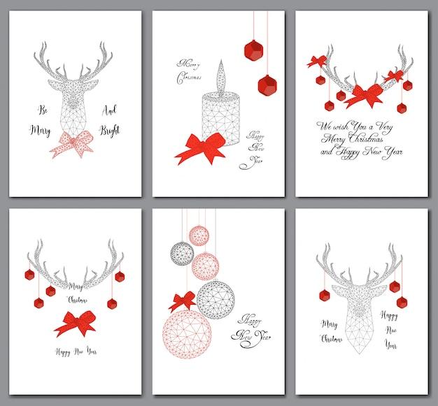 Zestaw kartek świątecznych z dekoracjami low poly