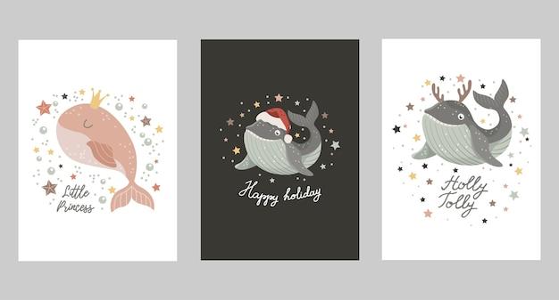 Zestaw kartek świątecznych z dzieckiem wieloryba