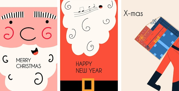 Zestaw kartek świątecznych z mikołajem. ilustracja wektorowa w stylu płaski