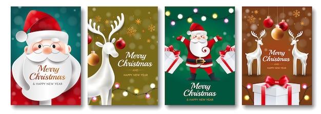 Zestaw kartek świątecznych z mikołajem, jeleniem, prezentami i zabawkami. cztery pozdrowienia jasne pionowe karty.