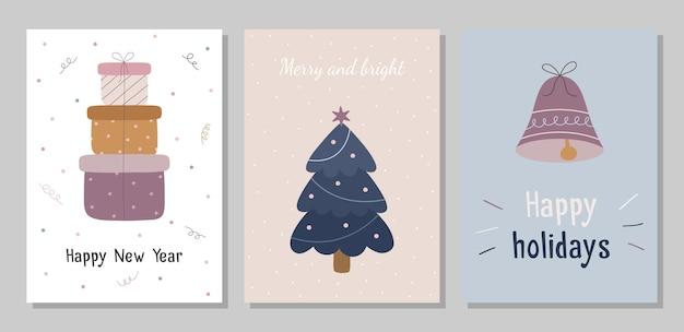 Zestaw kartek świątecznych z prezentami dzwonek choinka