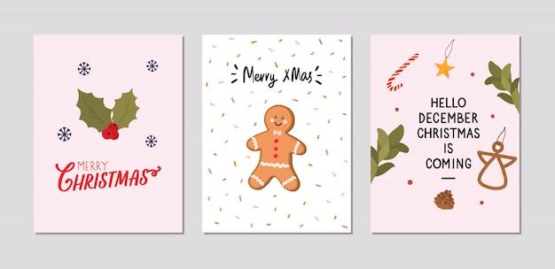 Zestaw kartek świątecznych z tradycyjnymi elementami zimowymi w stylu hygge. przytulny sezon zimowy. skandynawski.