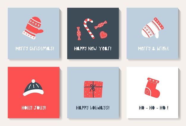 Zestaw kartek świątecznych z uroczymi rękawiczkami, skarpetą, prezentem, czapką.
