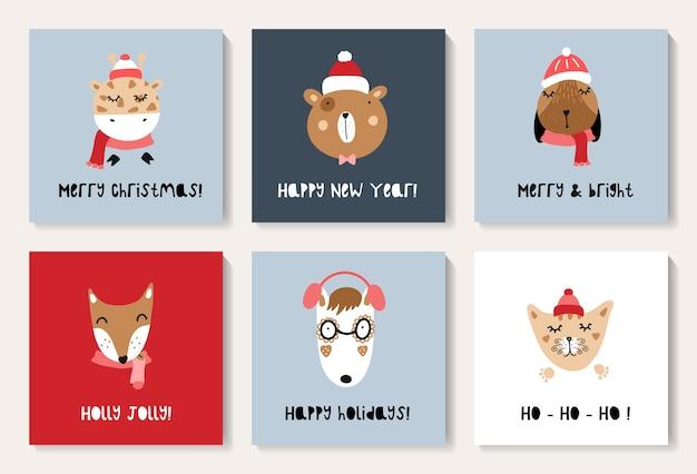 Zestaw kartek świątecznych z uroczymi zwierzętami. nadruk do przedszkola, odzieży dziecięcej, plakatu, pocztówki.