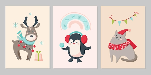 Zestaw kartek świątecznych z uroczymi zwierzętami. postacie renifer, pingwin, kot z płatkami śniegu, tęcza, baner. płaskie ilustracji wektorowych. projekt kartki z życzeniami, ulotki, banera, mediów społecznościowych