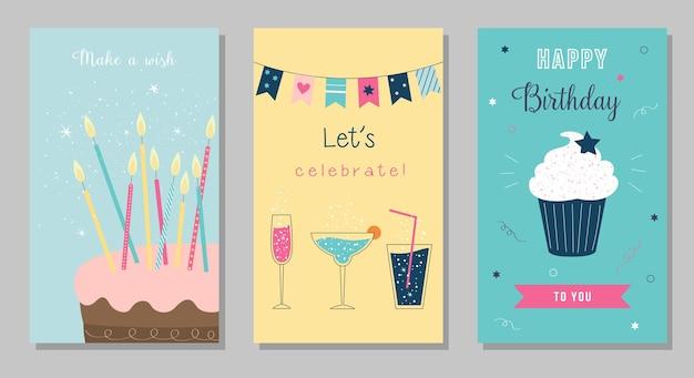 Zestaw kartek urodzinowych ciasto ze świeczkami koktajle cupcake