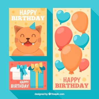Zestaw kartek urodzinowych w płaskiej konstrukcji z kotem