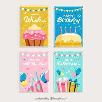 Zestaw kartek urodzinowych z kolorowych elementów strony