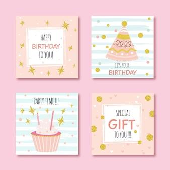 Zestaw kartek urodzinowych z kolorowymi elementami strony
