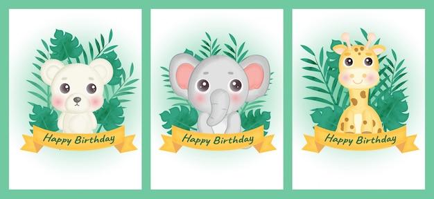 Zestaw kartek urodzinowych z misiem, słoniem i żyrafą w stylu akwareli.