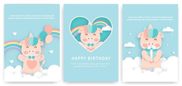 Zestaw kartek urodzinowych z uroczym jednorożcem.