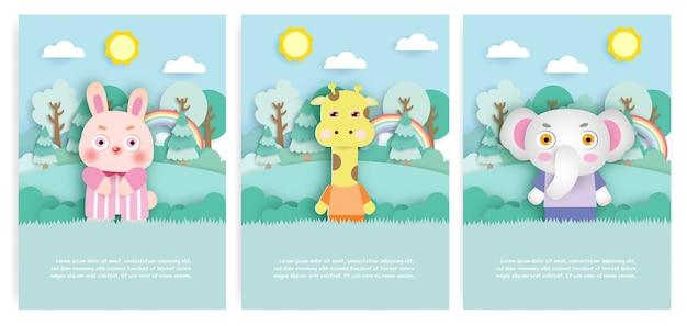 Zestaw kartek urodzinowych z uroczym królikiem, żyrafą i słoniem w lesie w stylu cięcia papieru.