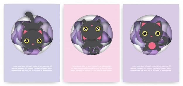 Zestaw kartek urodzinowych ze ślicznym czarnym kotem w stylu cięcia papieru.