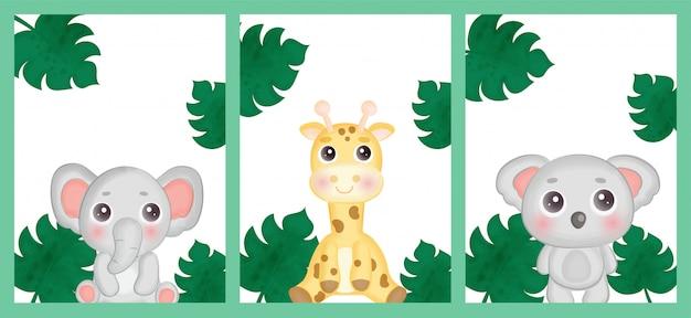 Zestaw kartek urodzinowych ze zwierzętami z safari.