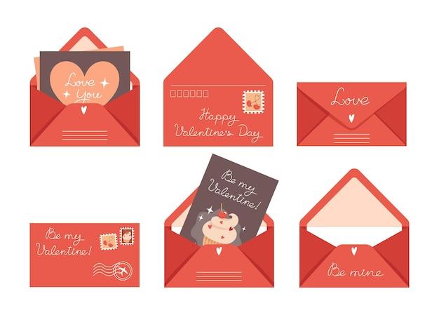 Zestaw kartek walentynkowych i kopert w stylu płaski