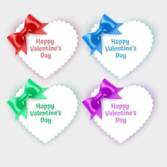 Zestaw kartek walentynkowych w kształcie serca ozdobionych realistycznymi kokardkami w jasnych kolorach