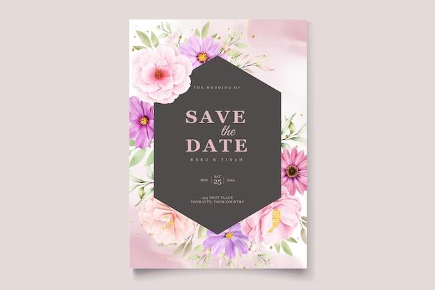 Zestaw kartek z zaproszeniami na ślub chryzantemy