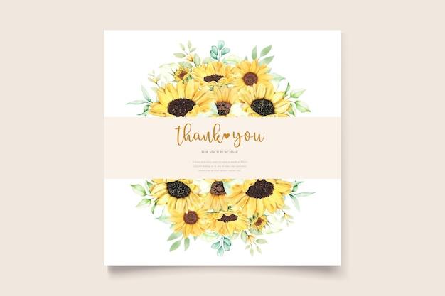 Zestaw kartek z zaproszeniem na ślub słonecznika