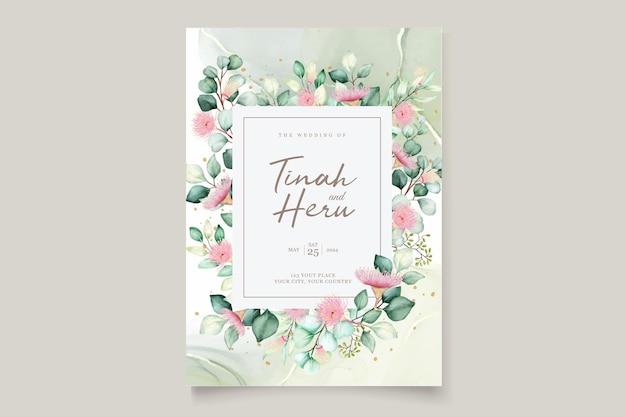Zestaw kartek z zaproszeniem na ślub z kwiatami eukaliptusa