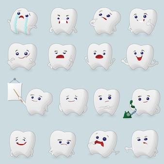 Zestaw kartek z zębami. ilustracje do stomatologii dziecięcej na temat bólu zęba i leczenia.
