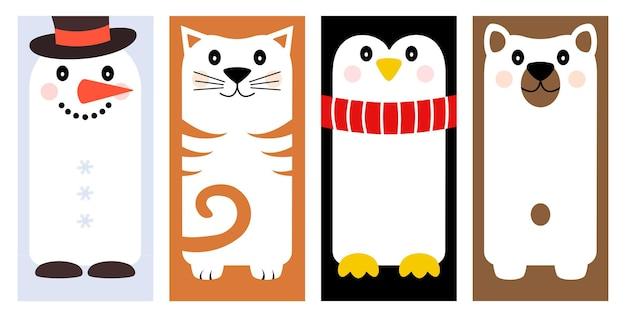 Zestaw kartek z życzeniami na wakacje zimowe z różnymi postaciami z kreskówek - bałwan, kot, pingwin, niedźwiedź. ozdobny baner z miejscem na twój tekst. ilustracja wektorowa