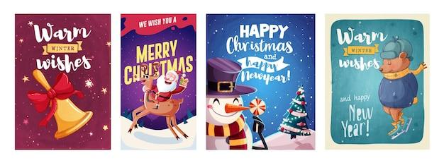 Zestaw kartek z życzeniami wesołych świąt i szczęśliwego nowego roku z postaciami świątecznymi