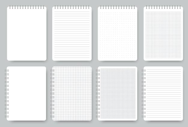 Zestaw kartek zeszytu, notatnik w linie i papier w kropki. puste realistyczne spiralne zeszyty na białym tle