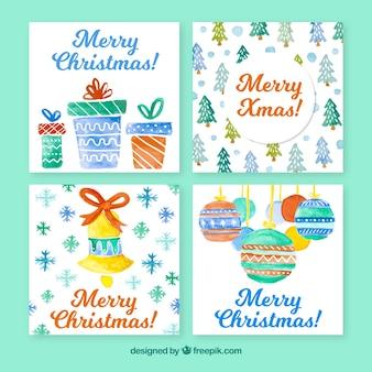 Zestaw kartki świąteczne akwarele